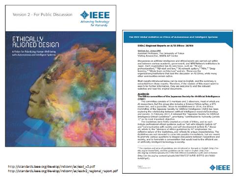 図表 IEEE(米国電気電子技術者協会)「倫理的に調和された設計」レポートIEEE(米国電気電子技術者協会)は「倫理的に調和された設計」と題するレポートを 200人以上の異業種・異分野の専門家と協働で執筆し、議論や提言を行っている。各国の取組紹介の中で、日本の紹介を江間が行っている。出典:参考文献2)と3)