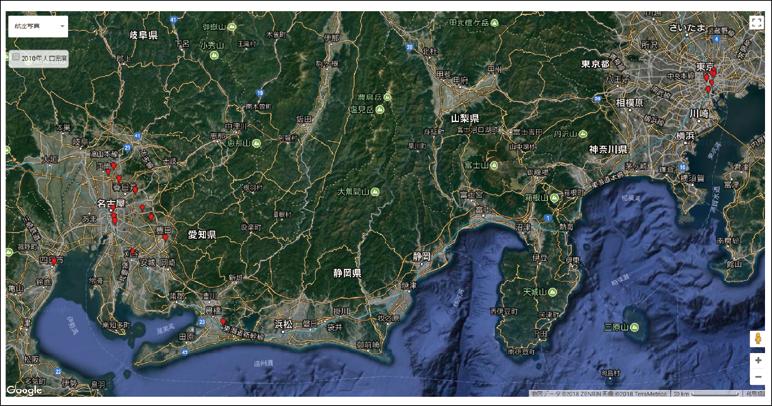 図表7 国立大学と共同発明を行った企業の所在地(例:名古屋大学)