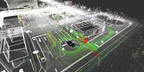 3次元地図とレーザースキャナを用いた「オートウェア」による一推定及び物体検出の様子 出典:加藤氏御提供資料
