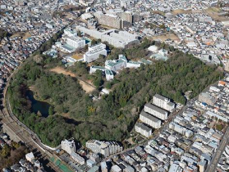 協創の森の全体像(左)と、その中に新設した協創棟(右) 出典:株式会社日立製作所御提供資料