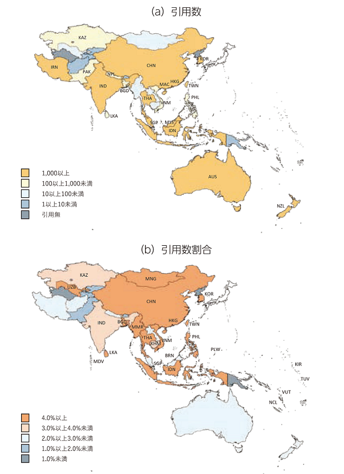 図表2 アジア・大洋州の各国・地域の日本論文の引用状況※1、2