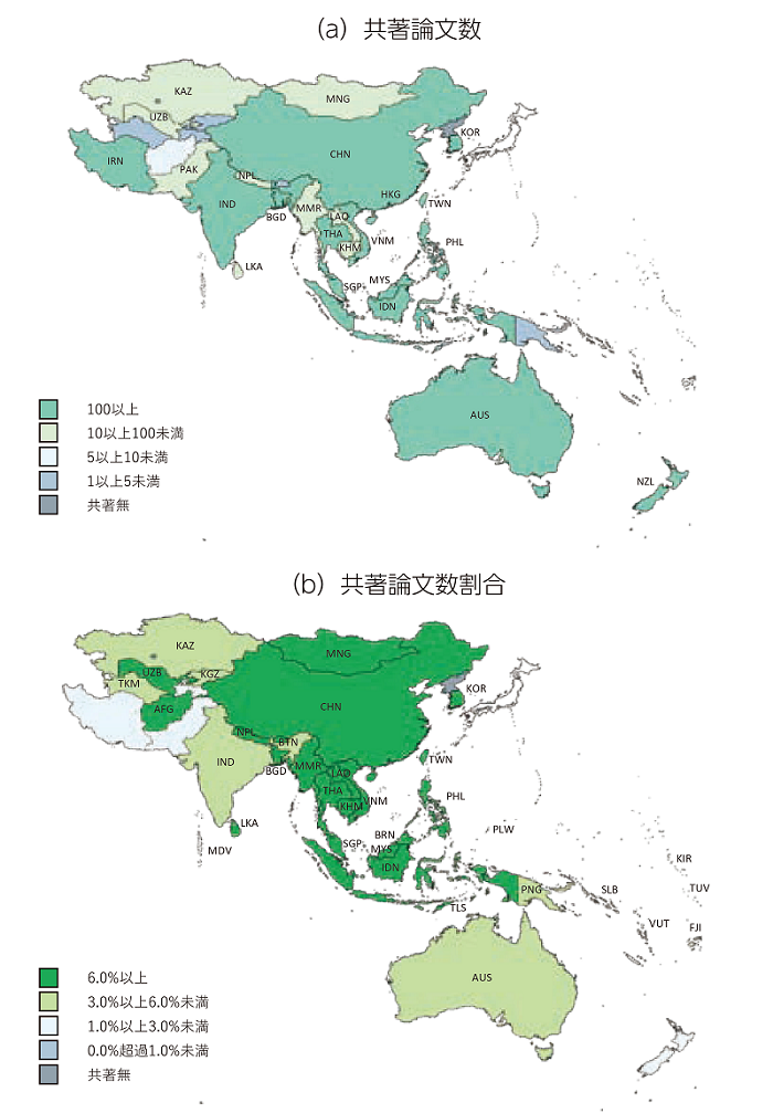 図表3 アジア・大洋州の各国・地域の日本との共著状況※1、2