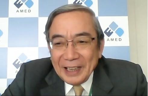 オンラインインタビューに答える三島理事長(NISTEP撮影)