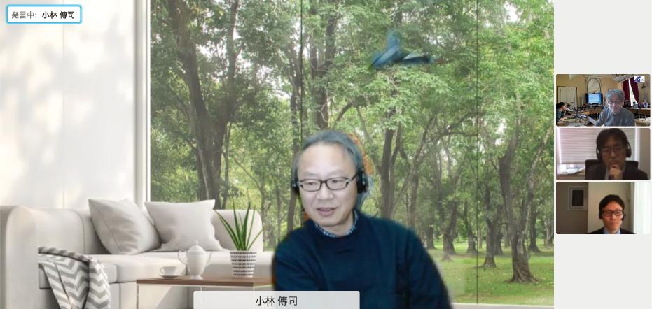 インタビューの様子 中央:小林 傳司 RISTEXセンター長、右側上段から、NISTEP林、赤池、山下(NISTEP撮影)