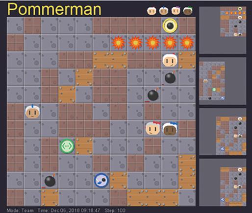 図表2 100手後のPommerman(ポンマーマン)ボード