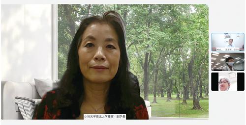 インタビューの様子 中央:小谷 元子氏、右側上段から、NISTEP 岡谷、横尾、林(NISTEP 撮影)